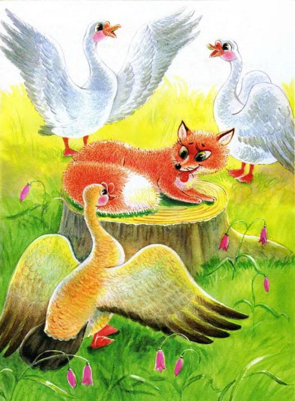 Картинка лиса и гуси