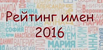 Рейтинг женских и мужских имен 2016 года